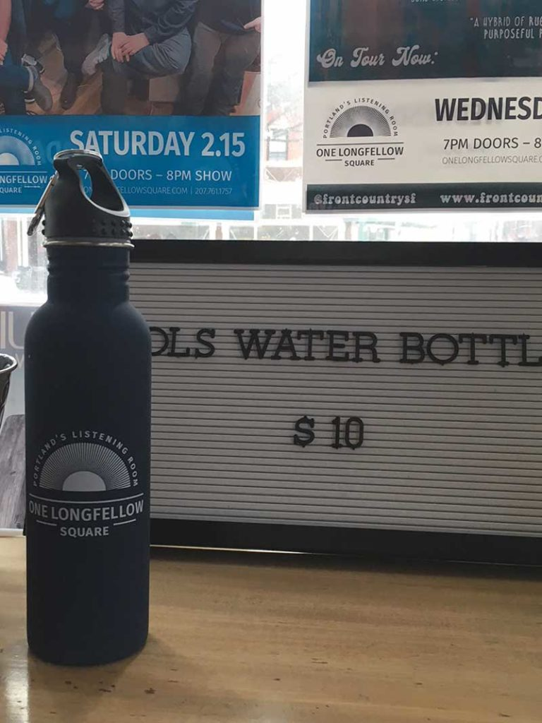 West End News - One Longfellow Square branded water bottle