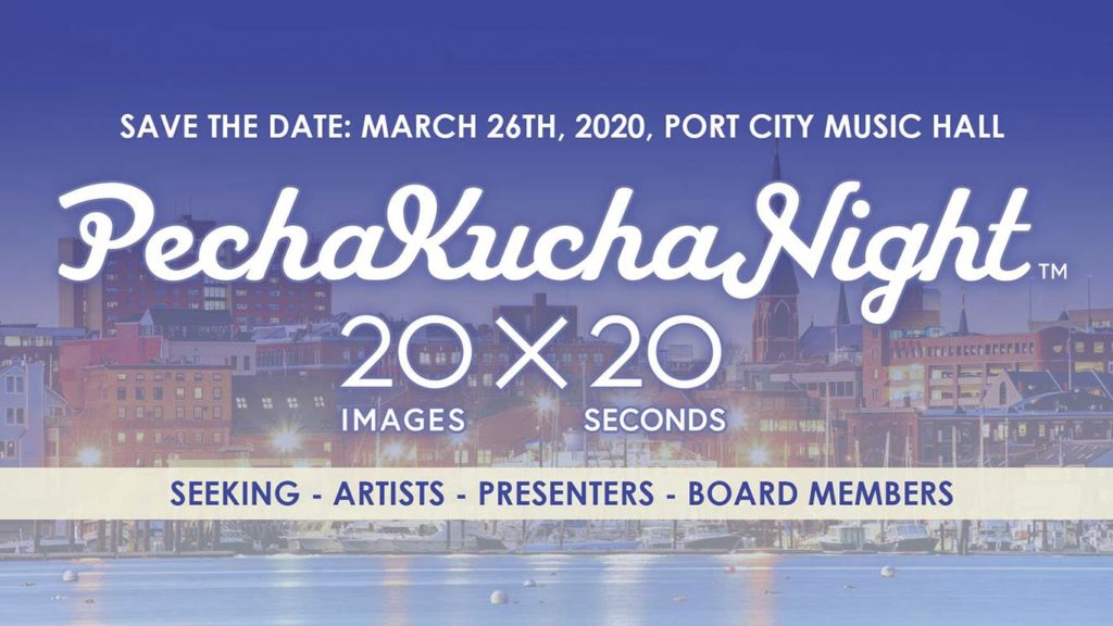West End News - PechaKucha Night 20x20 - March 26th, 2020 at Port City Music Hall (logo/banner)