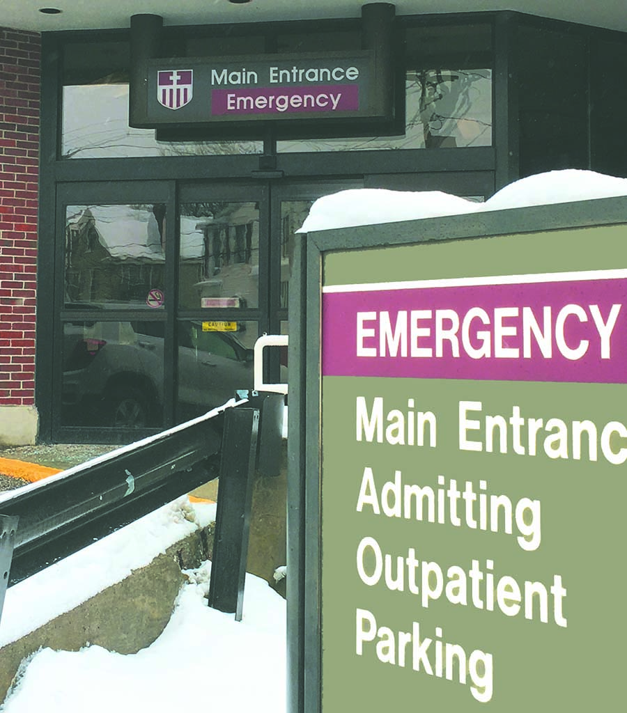 West End News - Northern Light State Street Hospital on snowy day - ED Entrance