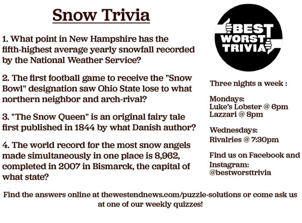 West End News - Best Worst Trivia Snow Trivia March 2020 by Ben Taylor