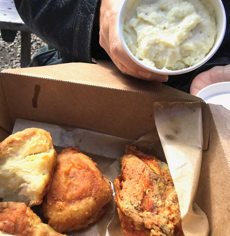 West End News - Dining Out in Portland, Maine - Figgy's half roasted chicken with biscuit and buttermilk mashed potatoes