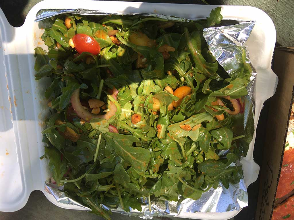 West End News - Local takeout from Coal's Pizza - Arugula salad