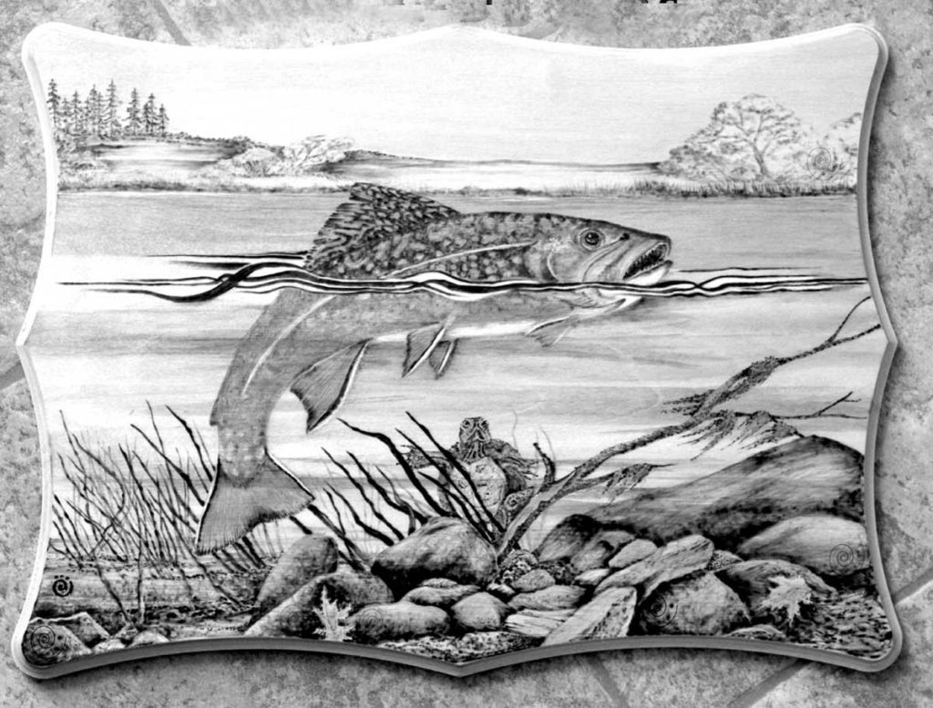 West End News - Brook trout design on wood-burned plaque by Maine craft artist Laurie Babineau
