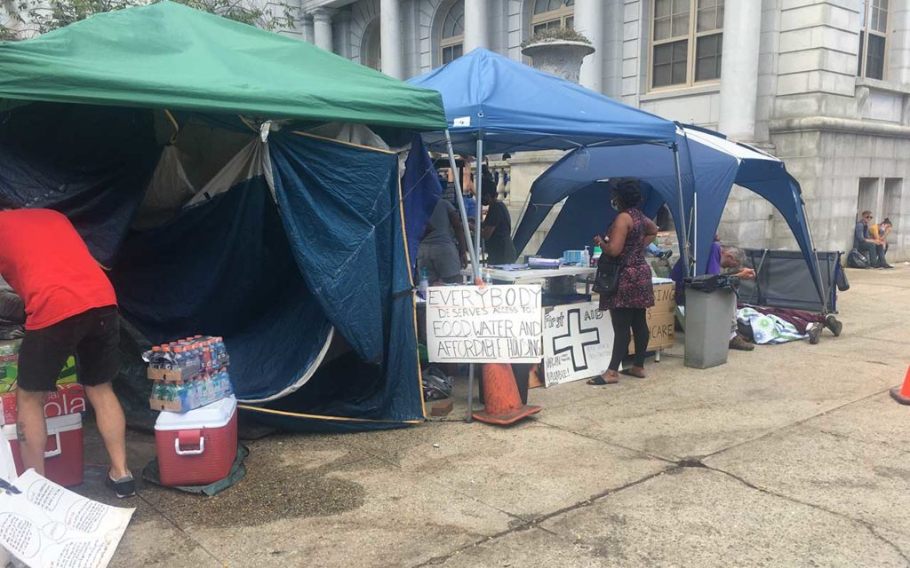 Homelessness protest encampment in front of Portland (ME) City Hall (July 2020). -WEN file photo by Erin Zeli