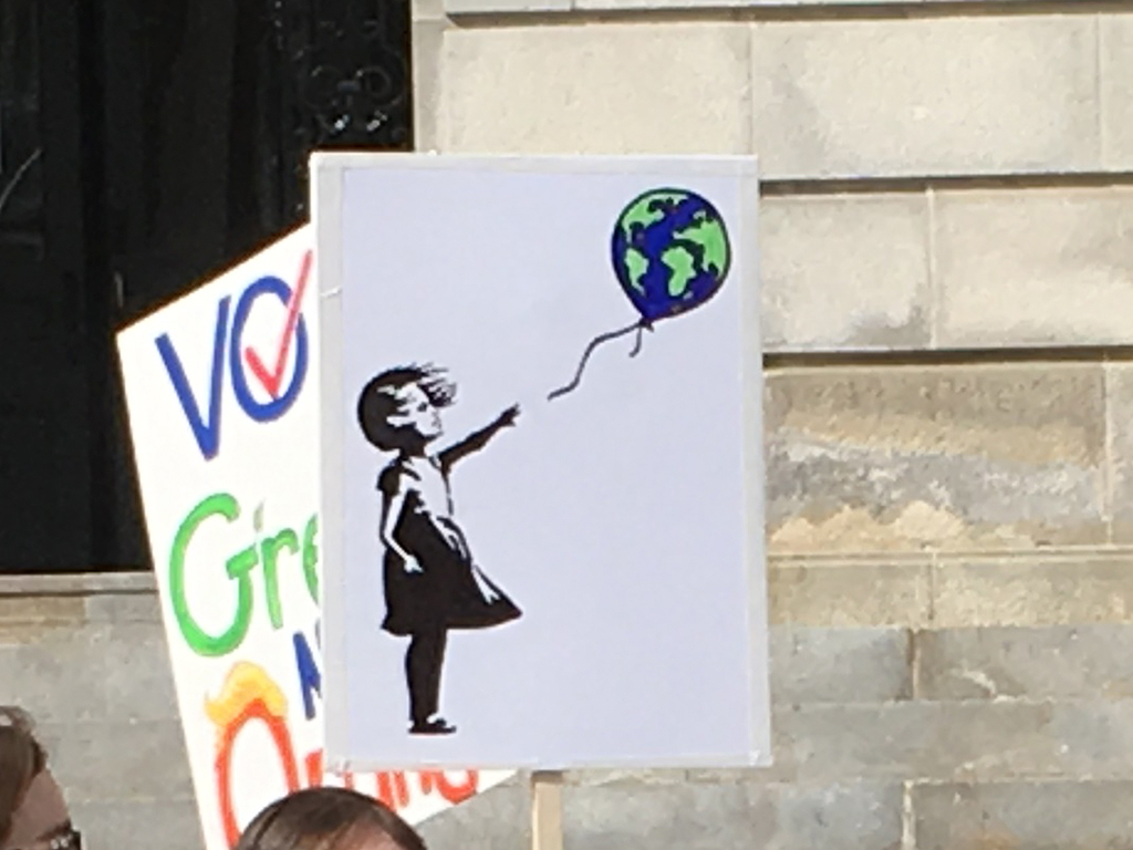 West End News - Stewardship and climate justice - sign at youth movement rally at Portland city hall, 2020