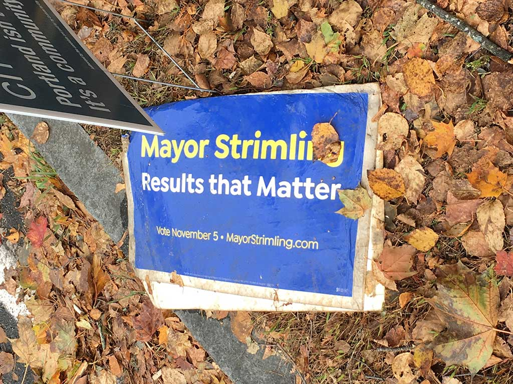West End News - Campaign sign trash - toppled Mayor Strimling sign by Tony Zeli