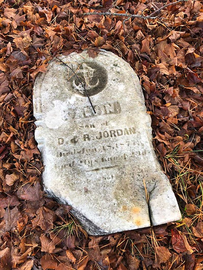 West End News - Western Cemetery - D & R Jordan gravestone toppled - By Harlan Baker