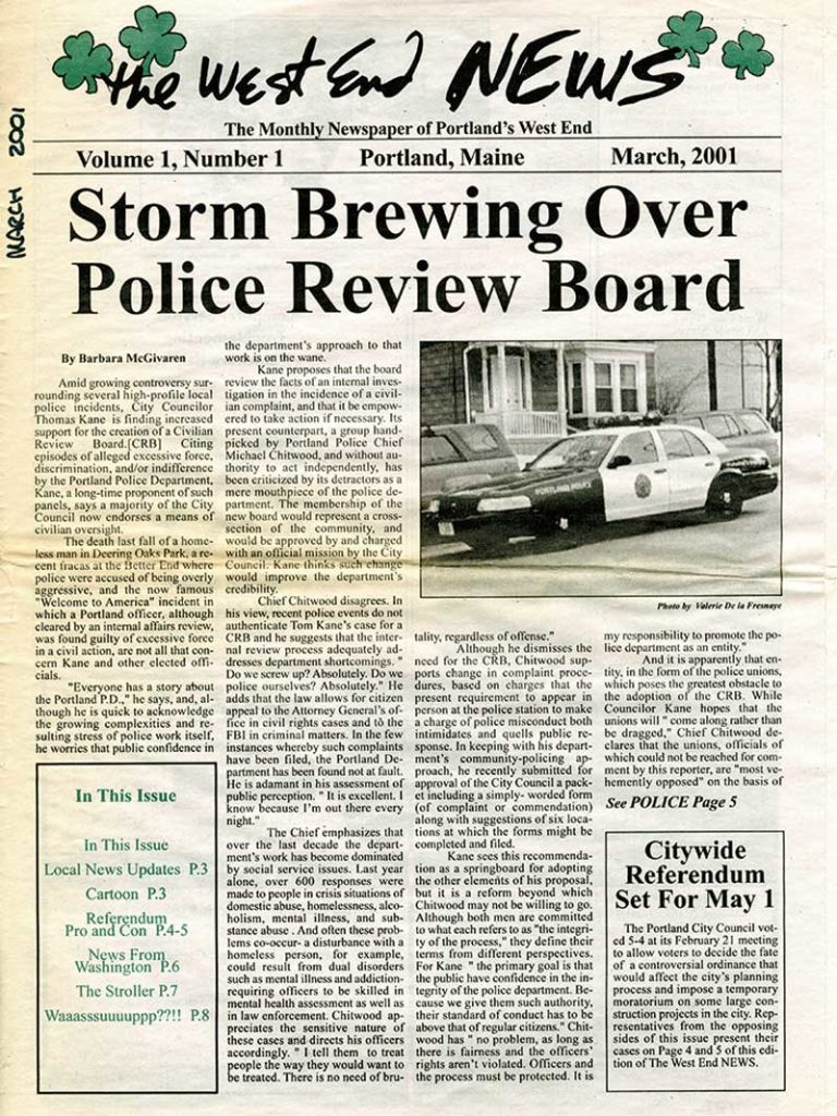 West End News - Front page of first edition of our community newspaper - Mar 2001