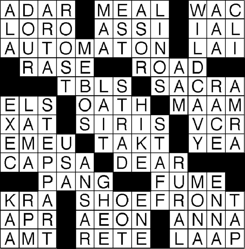 West End News - Crossword Solution Apr 21