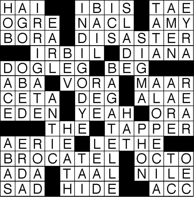 West End News - Crossword Puzzle Solutions