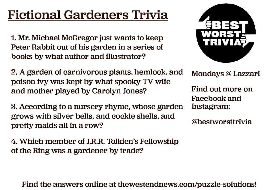 West End News - Best Worst Trivia - Fictional Gardeners Trivia