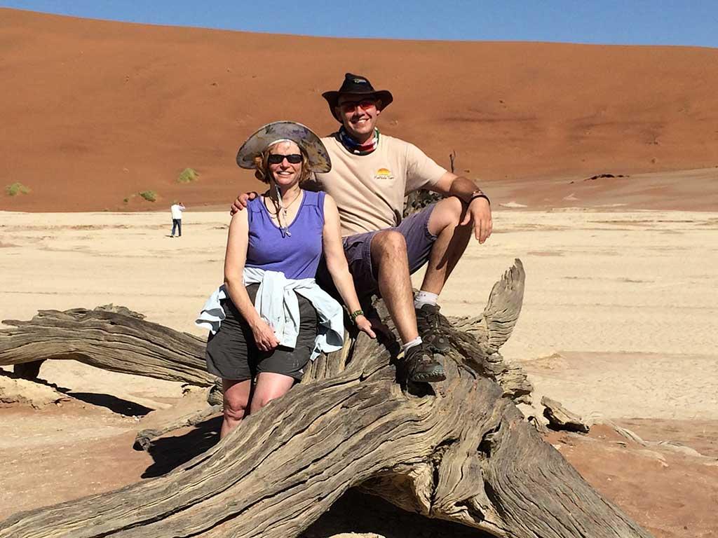 Nancy Dorrans at Deadvlei in Namibia, with Rudolf Badenhorst of Madikela Tours
