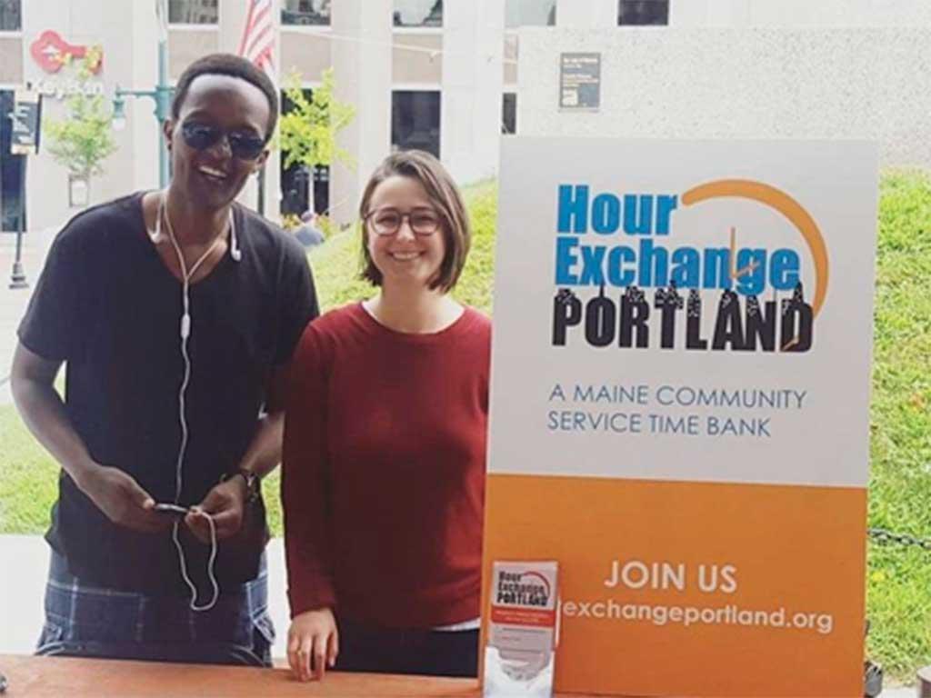West End News - Hour Exchange Portland - Photo of Hour Exchange members Dieudonne Rusarika and Dani Strandson