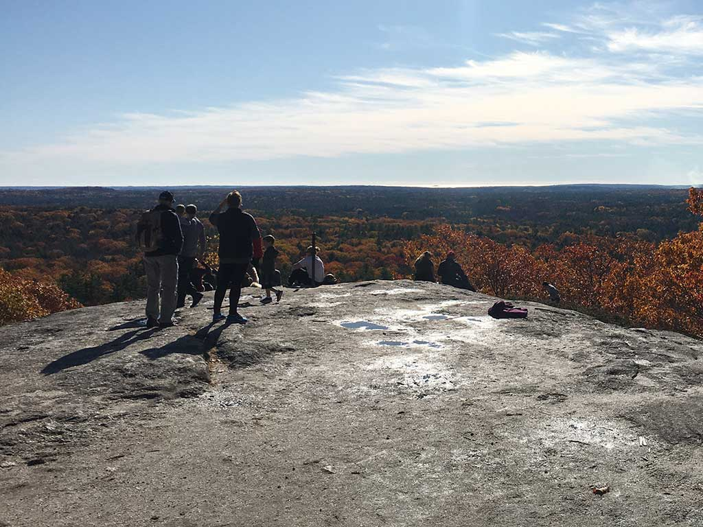 West End News - Bradbury Mountain near Portland Maine, Hikers enjoy the vista in the fall